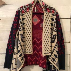 Leshop Tribal Print High-Low Cardigan Sweater